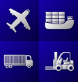 transport export import icon set vector image