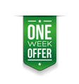 One Week Offer Green ribbon vector image