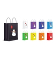 Set of Shopping Bags with Snowman and Sale Label vector image vector image