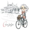 Cute girl rides a bicycle in Cordoba vector image