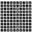 100 restaurant icons set grunge style vector image