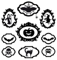 halloween icons in frames set vector image