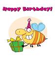 Birthday bee cartoon vector image