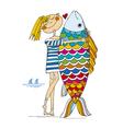 hand drawn sketch of girl and big fish vector image vector image