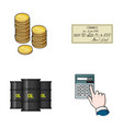 a stack of coins a bank check a calculator vector image