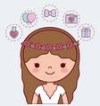 cartoon bride icon vector image