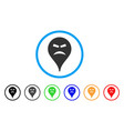 furious smiley map marker rounded icon vector image