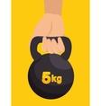 hand holds kettlebell fitness design vector image
