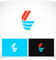 shape color letter l logo vector image