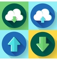 Upload and download icon set Flat design style vector image