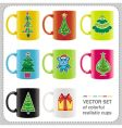 christmas cups vector image vector image