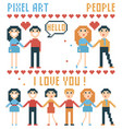 set of pixel people words hearts vector image