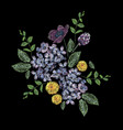 Embroidered composition with branch of lilac vector image