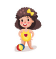 little boy wearing yellow swimsuit playing with a vector image