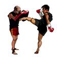 cartoon man fulfills kick paired with a man vector image