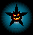 Halloween smile pumpkin face with flying bats vector image