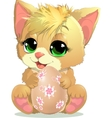 kitten and egg vector image