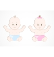 Cute smiling baby twins Baby boy and girl sitting vector image