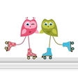 Owls on roller skates vector image