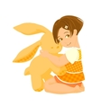 Small girl with a big bunny toy vector image vector image