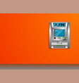 atm - automated teller machine orange wall metal vector image