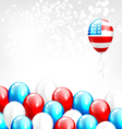 Balloons in national USA colors on grayscale vector image