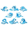 Blue sea and ocean waves or surf icons vector image