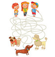 funny maze game help owners find their pets vector image