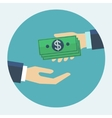 Hand giving money to other hand flat design vector image