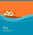ocean waves and tropical island background vector image
