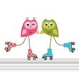 Owls on roller skates vector image