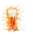 Watercolor glass of beer isolated on white vector image