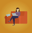 Woman siting with a cat and surfing the web vector image