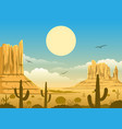mexican desert sunset background vector image