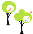 tree with love birds vector image