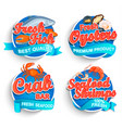 set of fresh seafood logo vector image