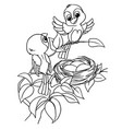 cartoon bird egg in nest coloring page vector image