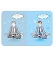 Successful businessman doing yoga vector image
