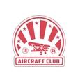Aircraft Club Red Emblem Design vector image