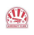 Aircraft Club Red Emblem Design vector image