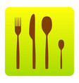 fork spoon and knife sign brown icon at vector image