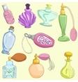Set of doodle retro perfume bottles vector image