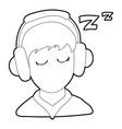 sleeping boy icon outline style vector image