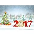 Christmas card with ball vector image vector image