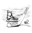 hockey stick and skate vector image