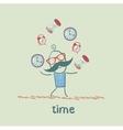 man juggles clocks vector image vector image
