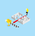 businessman use lightbulb to separate maze vector image