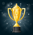 Golden cup with laurels - first place award vector image vector image
