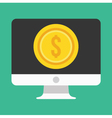 Computer Display and Gold Coin Dollar Icon vector image