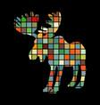 elk mammal color silhouette animal vector image